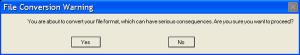 File conversion message