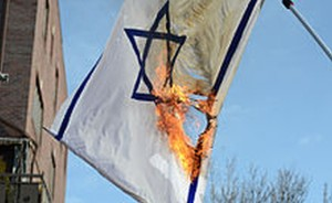 A handmade flag of Israel the BDS activists preferred to use.