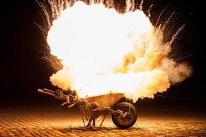 flaming wheelbarrow